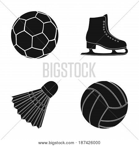 A soccer ball, figure skating skates, a shuttlecock for a badminton, a ball for volleyball. Sport set collection icons in black style vector symbol stock illustration .