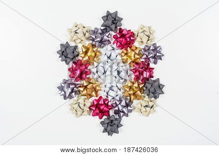 Colored Bows On White Background