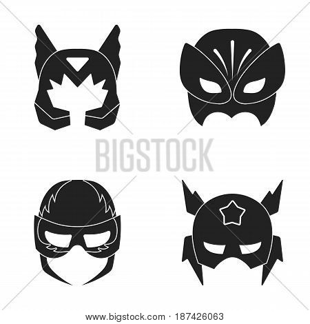 Mask on the head, helmet.Mask super hero set collection icons in black style vector symbol stock illustration .