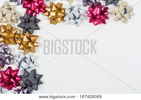 Holiday Bows On White Background