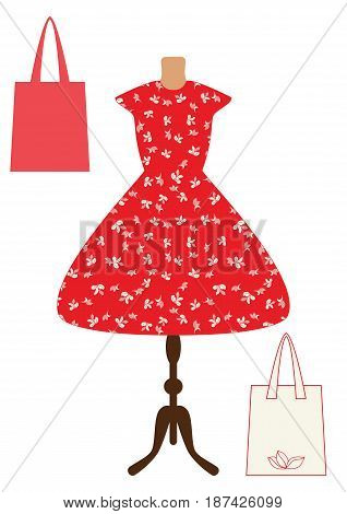 Red vintage beautiful dress with white leaves and two bags vector flat illustration. Isolated on white. Woman dresses on a mannequin
