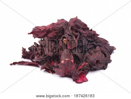 Dried hibiscus flowers isolated on white background
