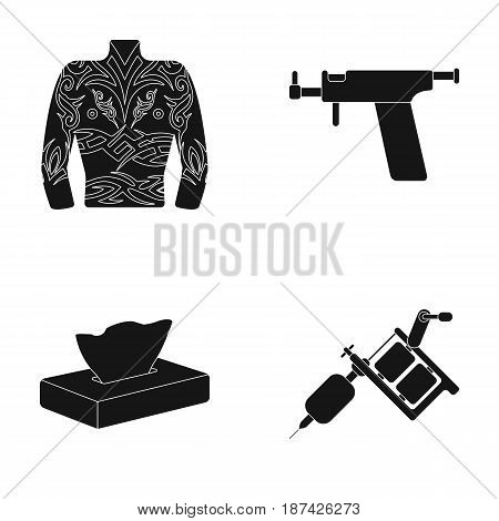 Body tattoo, piercing machine, napkins. Tattoo set collection icons in black style vector symbol stock illustration .