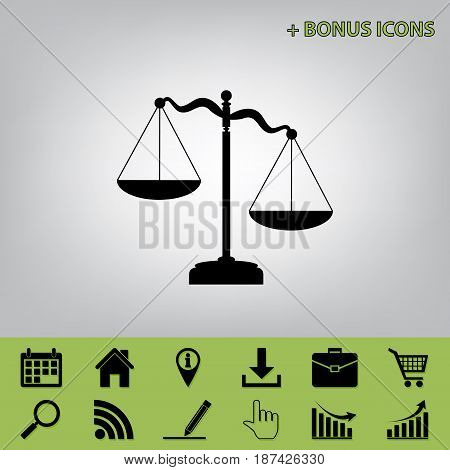 Scales of Justice sign. Vector. Black icon at gray background with bonus icons
