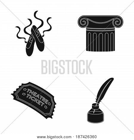 Pointe shoes, column, theater ticket, inkwell with feather. Theater set collection icons in black style vector symbol stock illustration .