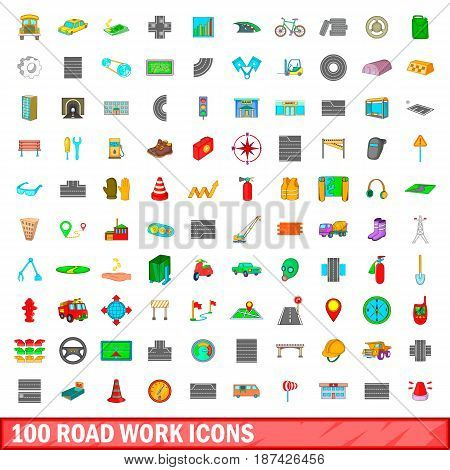 100 roadwork icons set in cartoon style for any design vector illustration