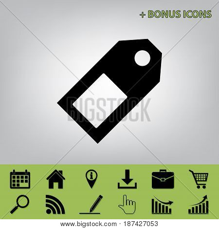 Price tag sign. Vector. Black icon at gray background with bonus icons