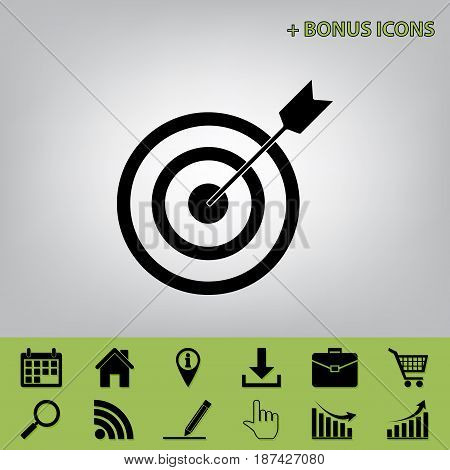 Target with dart. Vector. Black icon at gray background with bonus icons