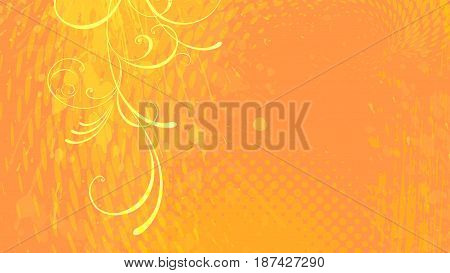 Wide format floral grunge background. Vector EPS10 without gradient with transparency. Place for text. Summer or spring theme. Background for presentation. Digitally wallpaper. 16 : 9