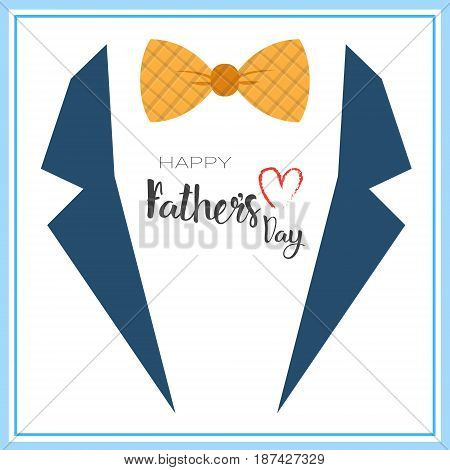 Happy Father Day Family Holiday, Retro Greeting Card Flat Vector Illustration