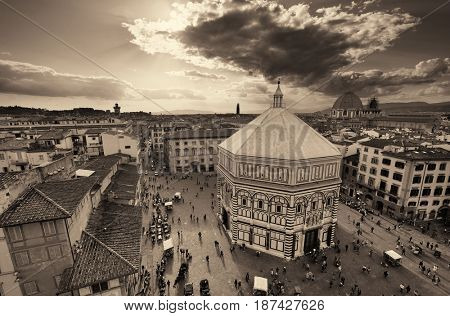 Piazza del Duomo rooftop view in Florence Italy.