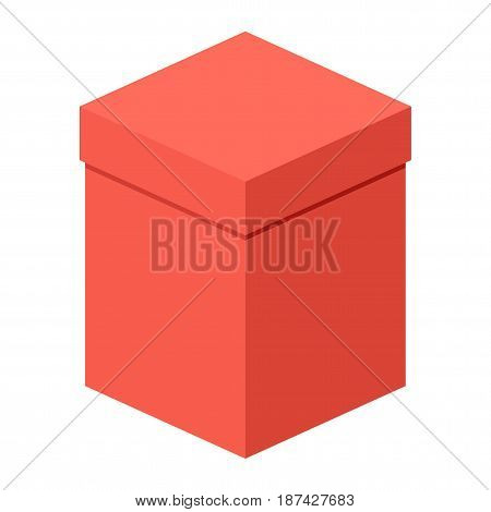 Big red box. Packaging for gifts parcels various goods. Flat vector cartoon illustration. Objects isolated on a white background.