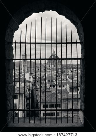 Duomo Santa Maria Del Fiore in Florence Italy viewed from bell tower.