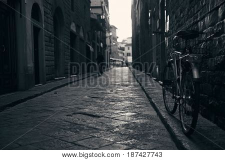 Bike in street in Florence, Italy