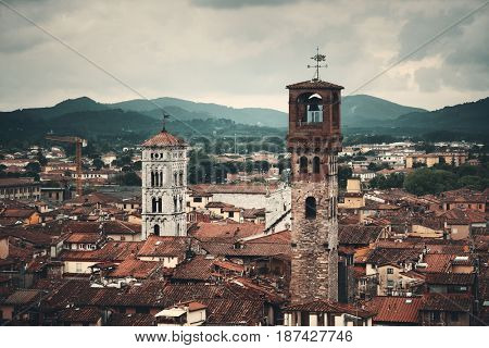 Lucca skyline with tower and cathedral in Italy
