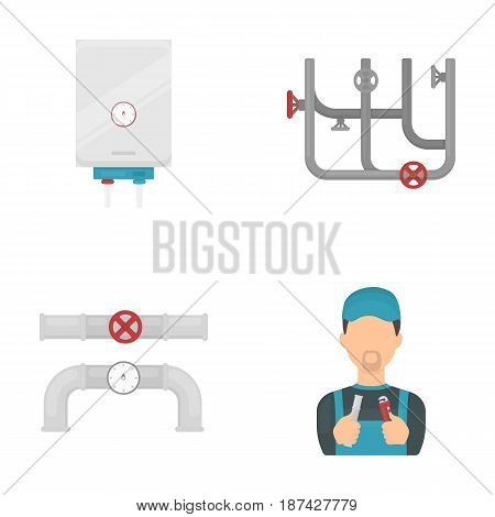 Boiler, plumber, ventils and pipes.Plumbing set collection icons in cartoon style vector symbol stock illustration .