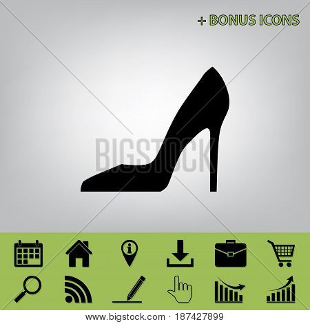 Woman shoe sign. Vector. Black icon at gray background with bonus icons at celery ones