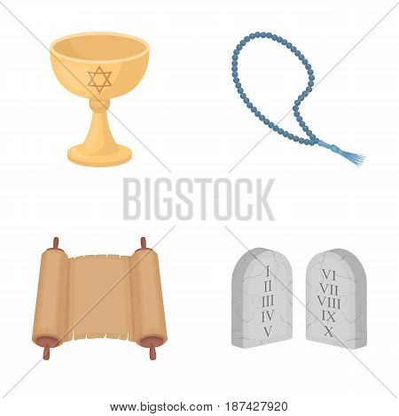 A cup of wine, Islamic beads, ten commandments, tanakh. Religion set collection icons in cartoon style vector symbol stock illustration .