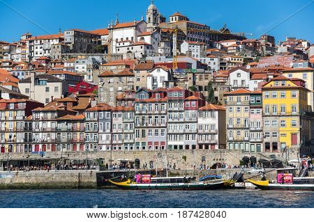 PORTO PORTUGAL - OCTOBER 21 2015: Panorama of river Douro and the old town of Porto the second largest city in Portugal after Lisbon