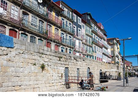 PORTO PORTUGAL - OCTOBER 21 2015: Street of the old town of Porto the second largest city in Portugal after Lisbon