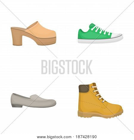 Flip-flops, clogs on a high platform and heel, green sneakers with laces, female gray ballet flats, red shoes on the tractor sole. Shoes set collection icons in cartoon style vector symbol stock illustration . poster
