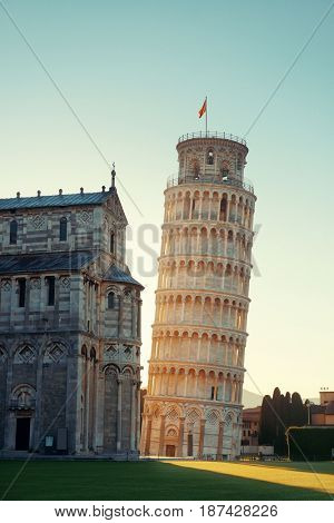 Leaning tower sunrise in Pisa, Italy as the worldwide known landmark.