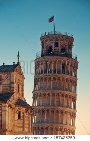Leaning tower in Pisa, Italy as the worldwide known landmark.