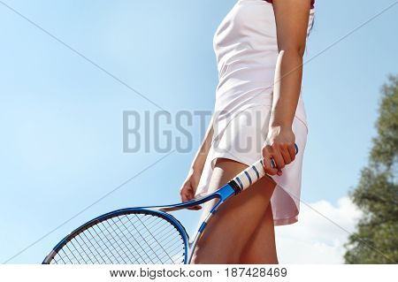 tennis player with racket during a match game isolated