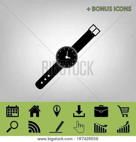 Watch sign illustration. Vector. Black icon at gray background with bonus icons at celery ones