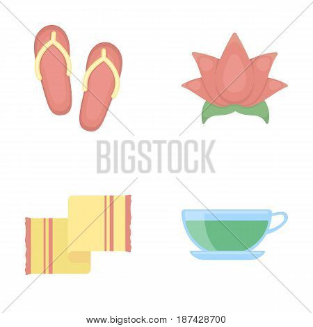 Flip-flops for the pool, lotus flower with petals, yellow towel with fringe, cup with tea, drink. Spa set collection icons in cartoon style vector symbol stock illustration .