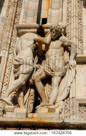detail of Duomo Milan Cathedral in Italy
