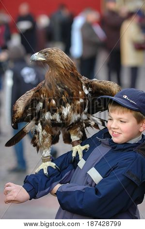 MOSCOW, OCT 29, 2005: Beautiful golden eagle is seating on boy hand on Red Square among tourists. Photo session with animal for tourists and Moscow guests