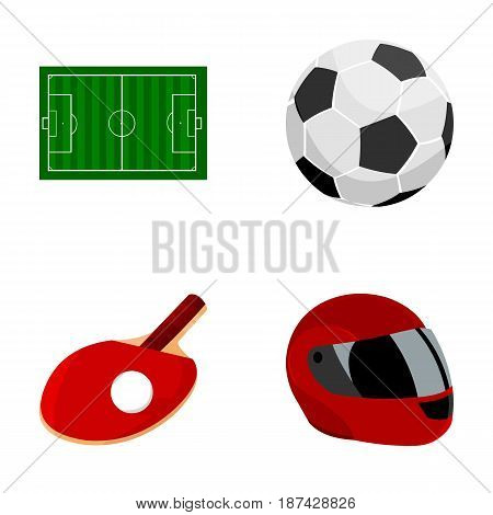 Field, stadium with markings for playing football, football ball, racket with a ball for ping-pong, protective helmet for the game, glove for baseball or rugby. Sport set collection icons in cartoon style vector symbol stock illustration .