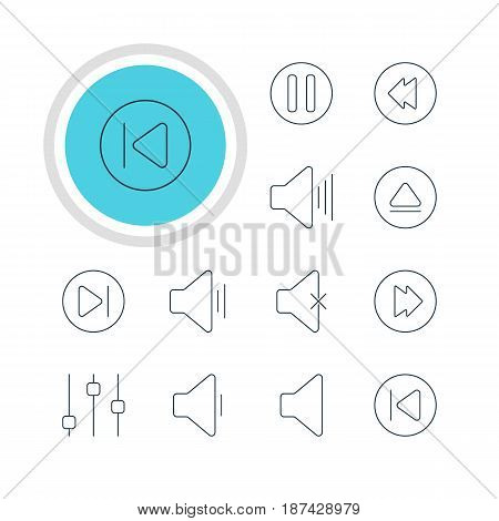 Vector Illustration Of 12 Melody Icons. Editable Pack Of Volume Up, Soundless, Speaker And Other Elements.