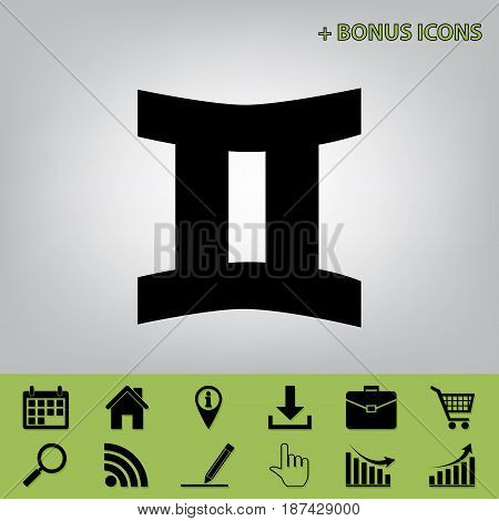 Gemini sign. Vector. Black icon at gray background with bonus icons at celery ones