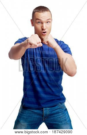 portrait of a young man boxing sign  isolated against white background