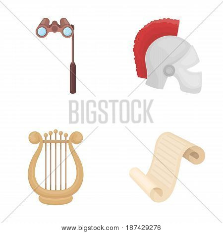 Theatrical binoculars, a helmet, a harp and a paper scroll. The theater set collection icons in cartoon style vector symbol stock illustration .