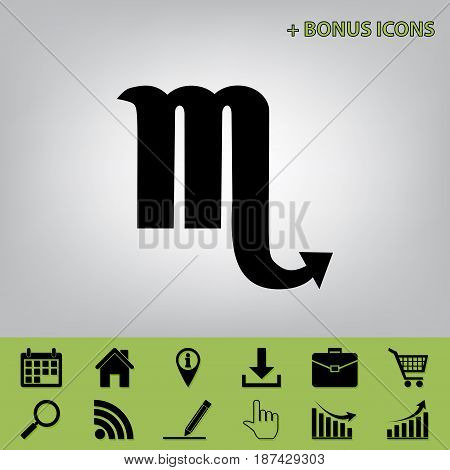 Scorpio sign illustration. Vector. Black icon at gray background with bonus icons at celery ones
