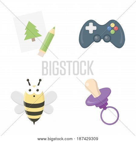 Picture, dzhostik, bee, nipple.Toys set collection icons in cartoon style vector symbol stock illustration .