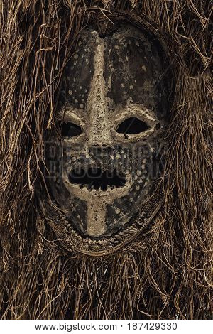 Genuine african mask of tribals closeup photo
