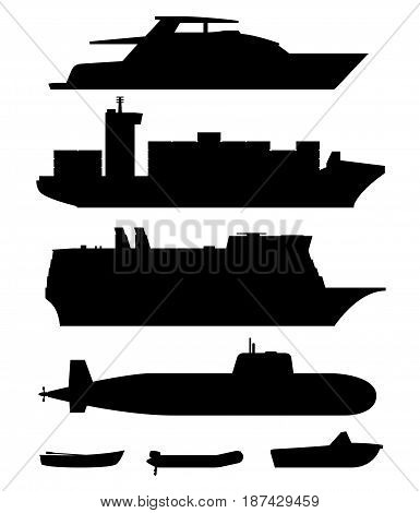 Ships and boats black silhouettes on white background.