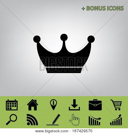 King crown sign. Vector. Black icon at gray background with bonus icons at celery ones