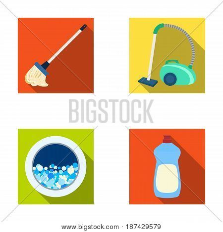 A mop with a handle for washing floors, a green vacuum cleaner, a window of a washing machine with water and foam, a bottle with a cleaning agent. Cleaning set collection icons in flat style vector symbol stock illustration .