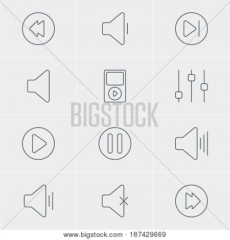 Vector Illustration Of 12 Melody Icons. Editable Pack Of Mp3, Audio, Lag And Other Elements.