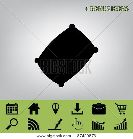 Pillow sign illustration. Vector. Black icon at gray background with bonus icons at celery ones