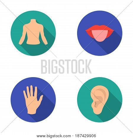 Back of the person, mouth, hand, ear. Part of the body set collection icons in flat style vector symbol stock illustration .