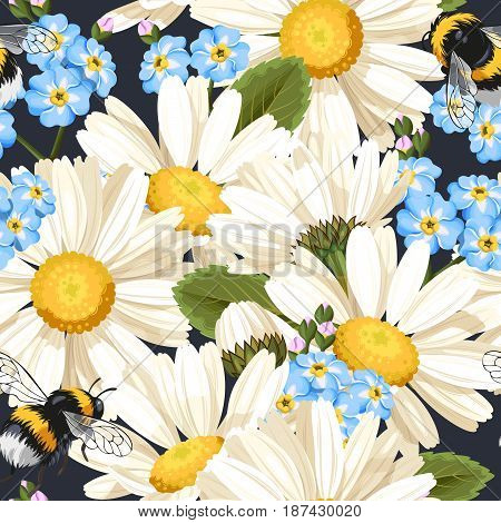 High detailed white camomile vector seamless background