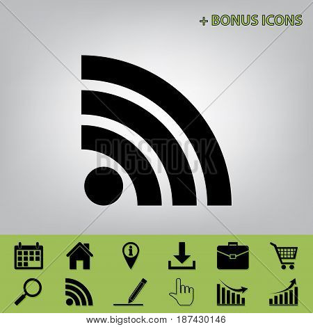 RSS sign illustration. Vector. Black icon at gray background with bonus icons at celery ones