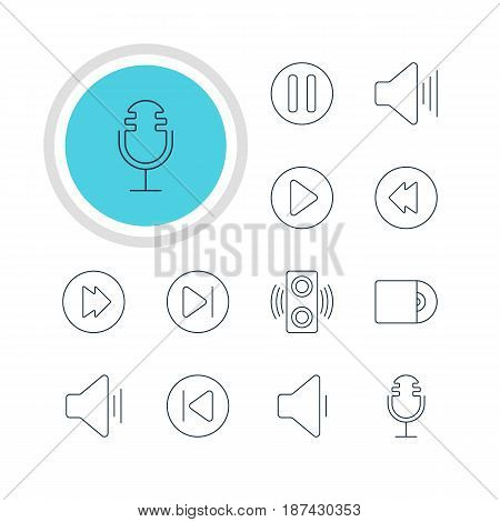 Vector Illustration Of 12 Music Icons. Editable Pack Of Decrease Sound, Preceding, Advanced And Other Elements.