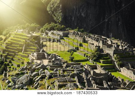 View of the ancient Inca City of Machu Picchu. Close-up view.